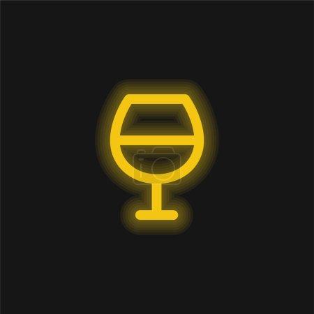 Illustration pour Bar jaune brillant icône néon - image libre de droit
