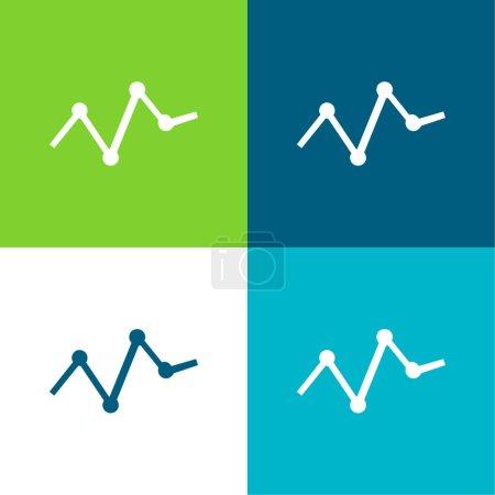 Illustration pour Analyse des statistiques des entreprises dans un graphique linéaire avec des points Flat quatre couleurs minimum icône ensemble - image libre de droit