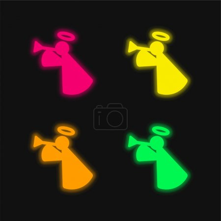 Illustration for Angel four color glowing neon vector icon - Royalty Free Image