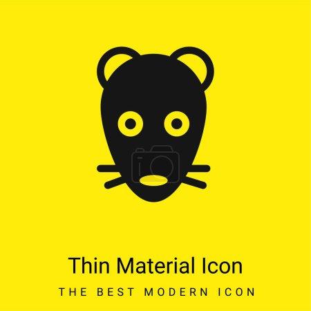 Animal Face icono de material amarillo brillante mínimo