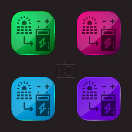 Illustration for Battery four color glass button icon - Royalty Free Image
