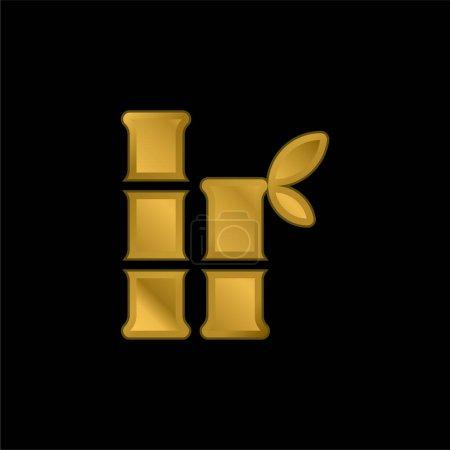 Illustration pour Icône métallique plaqué or bambou ou vecteur de logo - image libre de droit