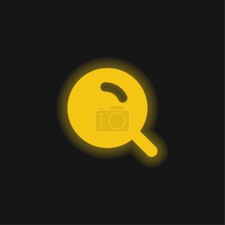 Illustration pour Grande loupe avec brillant jaune icône néon - image libre de droit