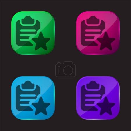Illustration pour Signet icône bouton en verre quatre couleurs - image libre de droit