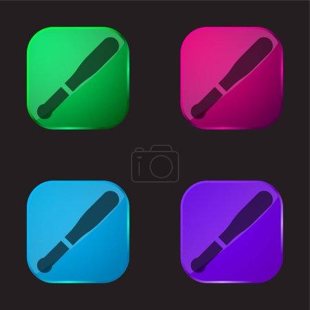 Illustration pour Baseball chauve-souris icône bouton en verre quatre couleurs - image libre de droit