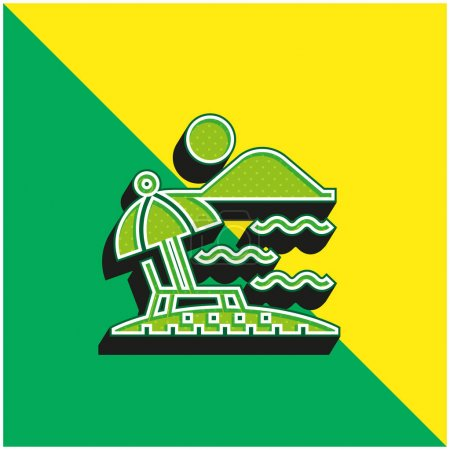 Photo for Beach Green and yellow modern 3d vector icon logo - Royalty Free Image