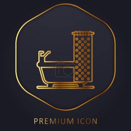 Bathtub golden line premium logo or icon