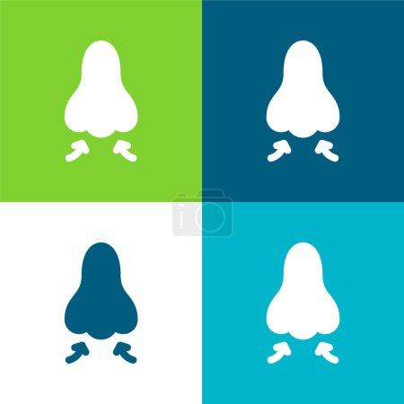 Illustration pour Respirez Ensemble d'icônes minimal à quatre couleurs - image libre de droit