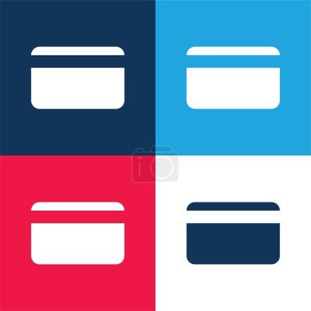 Illustration pour Carte de crédit bancaire bleu et rouge quatre couleurs minimum jeu d'icônes - image libre de droit