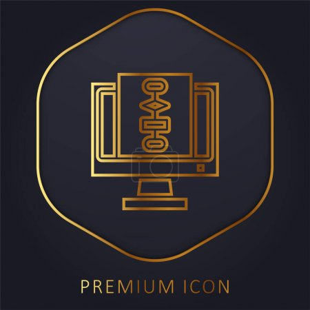 Illustration pour Algorithme ligne d'or logo premium ou icône - image libre de droit