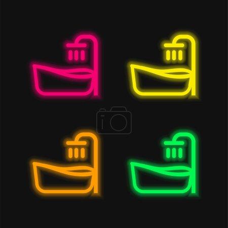 Baignoire quatre couleurs brillant icône vectorielle néon