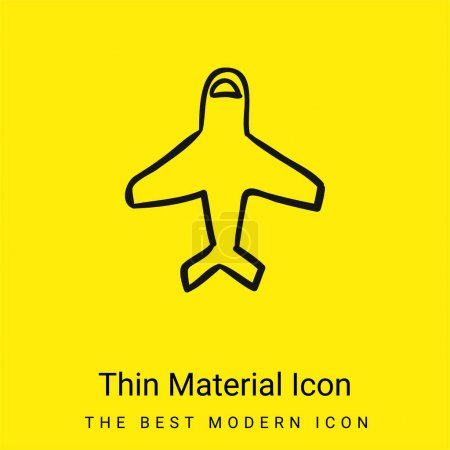 Airplane Outline Pointing Up minimal bright yellow material icon