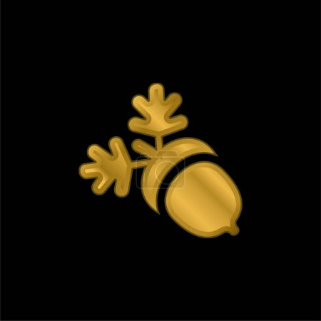 Illustration for Acorn gold plated metalic icon or logo vector - Royalty Free Image