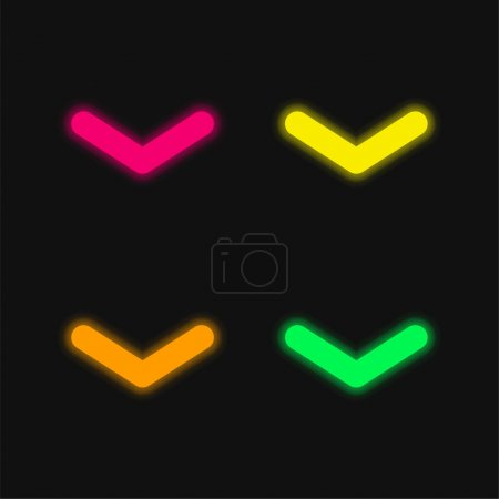 Illustration for Angle Arrow Pointing Down four color glowing neon vector icon - Royalty Free Image