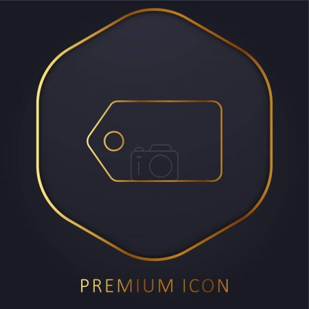 Illustration pour Étiquette noire en position horizontale ligne dorée logo premium ou icône - image libre de droit