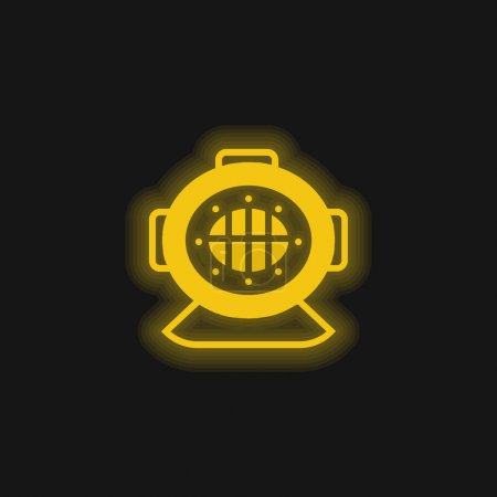 Aqualung yellow glowing neon icon