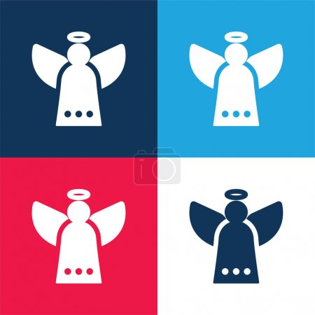 Photo for Angel blue and red four color minimal icon set - Royalty Free Image