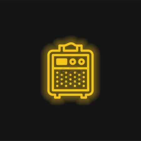 Illustration pour Amplificateur jaune brillant icône néon - image libre de droit