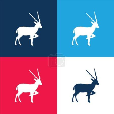 Foto de Silueta de antílope de vista lateral azul y rojo conjunto de iconos mínimo de cuatro colores - Imagen libre de derechos