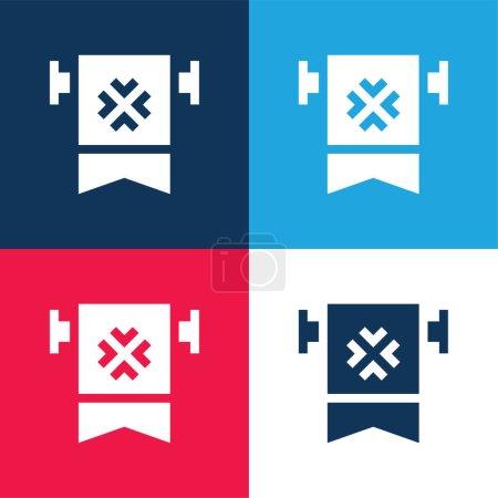 Bannière bleu et rouge ensemble d'icônes minimes quatre couleurs