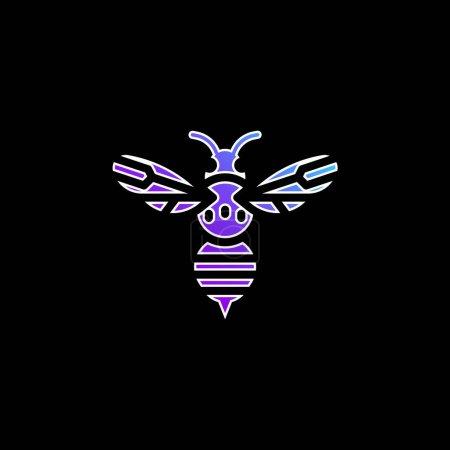 Photo pour Icône vectorielle de dégradé bleu abeille - image libre de droit