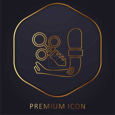 Photo pour Bras ligne d'or logo premium ou icône - image libre de droit