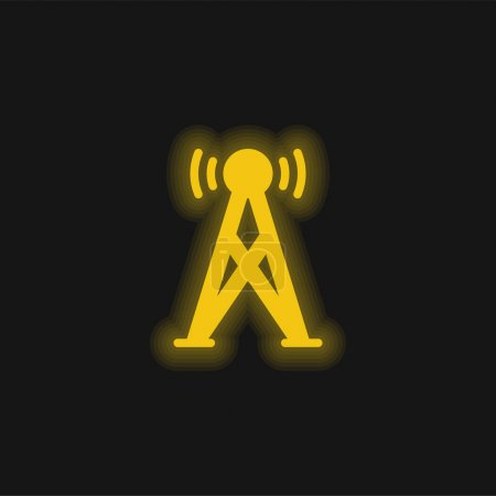 Illustration for Antenna yellow glowing neon icon - Royalty Free Image