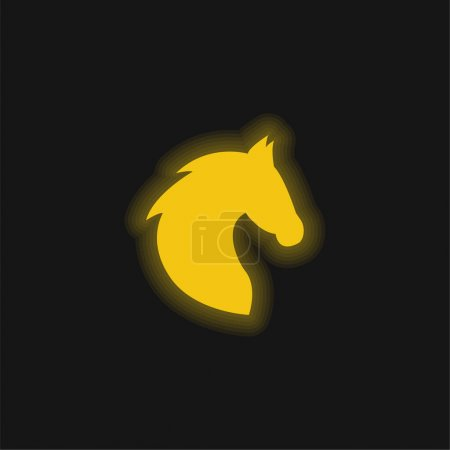 Photo for Black Head Horse Side View With Horsehair yellow glowing neon icon - Royalty Free Image
