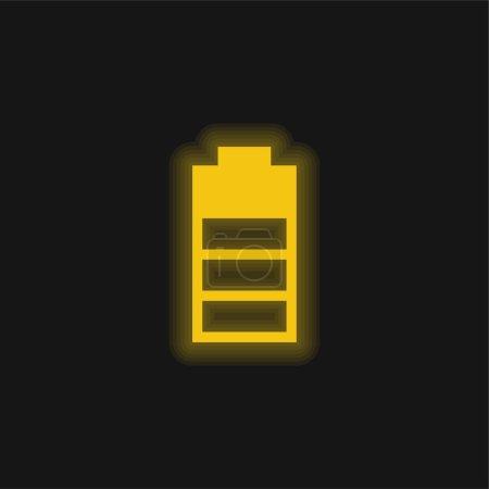 Illustration pour Symbole d'interface de niveau de batterie icône jaune néon brillant - image libre de droit