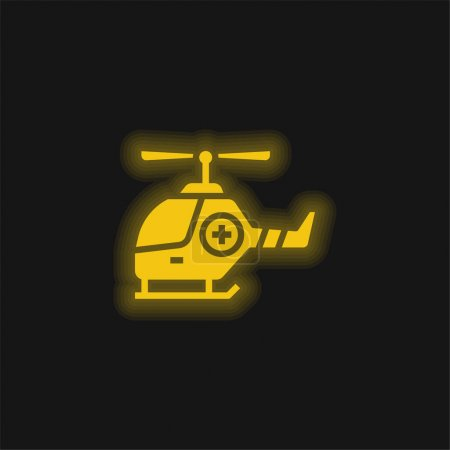 Illustration for Air Ambulance yellow glowing neon icon - Royalty Free Image