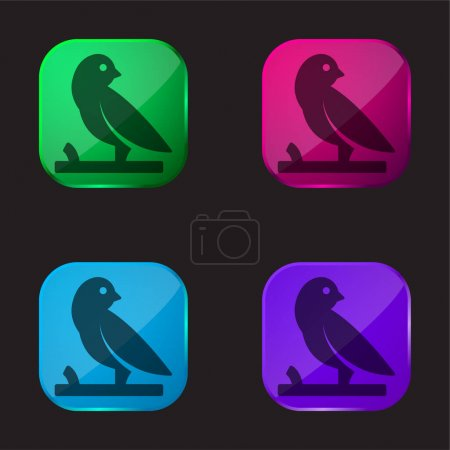 Bird On A Branch four color glass button icon