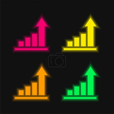 Illustration for Analytics four color glowing neon vector icon - Royalty Free Image