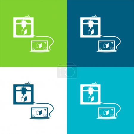 Illustration for 3d Printer Connected To Laptop Printing A Cube Flat four color minimal icon set - Royalty Free Image