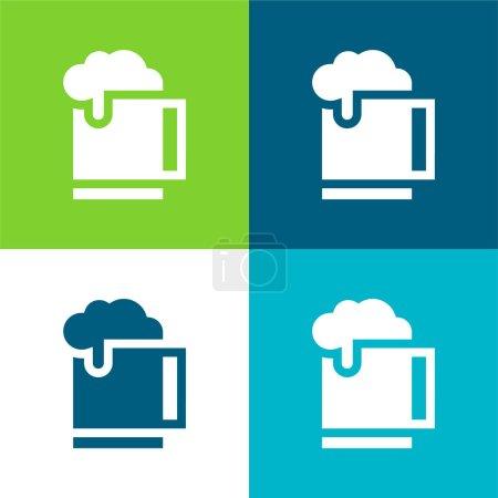 Illustration pour Bière Ensemble d'icônes minimal plat quatre couleurs - image libre de droit