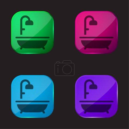Bain icône de bouton en verre quatre couleurs