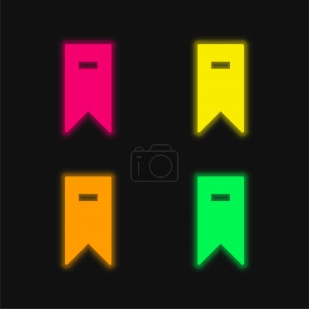 Illustration for Bookmark four color glowing neon vector icon - Royalty Free Image