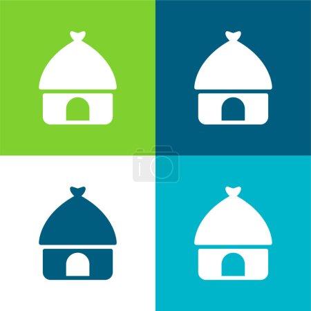 Photo pour Ensemble d'icônes minimum African Flat quatre couleurs - image libre de droit