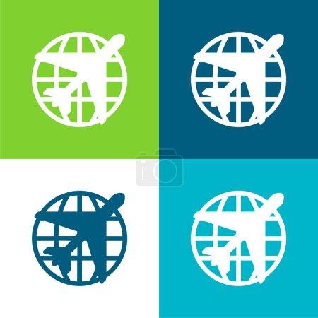 Illustration pour Ensemble d'icônes minime à quatre couleurs Airport Flat - image libre de droit