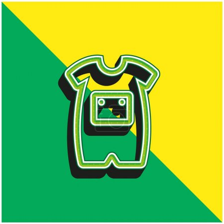Baby Onesie With Front Pocket Outline Green and yellow modern 3d vector icon logo