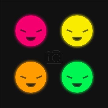 Illustration pour Battre quatre couleurs rougeoyantes icône vectorielle néon - image libre de droit