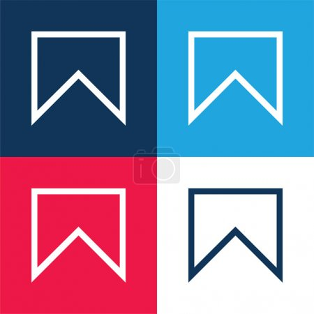 Bookmark Outline blue and red four color minimal icon set