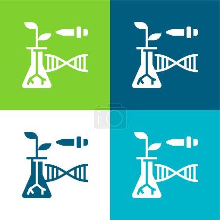 Illustration for Biotechnology Flat four color minimal icon set - Royalty Free Image