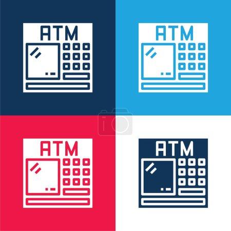 Photo pour Ensemble d'icônes minimes quatre couleurs bleu et rouge ATM - image libre de droit