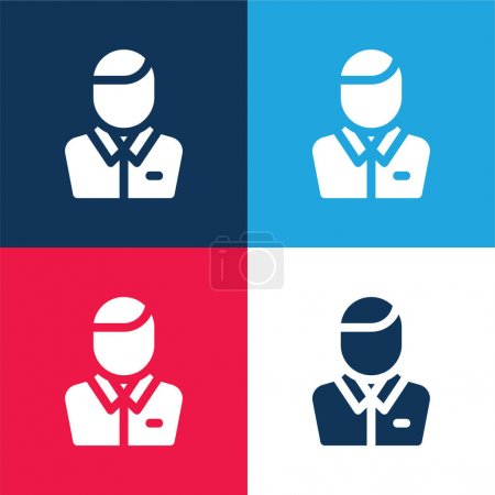 Illustration for Assistance blue and red four color minimal icon set - Royalty Free Image