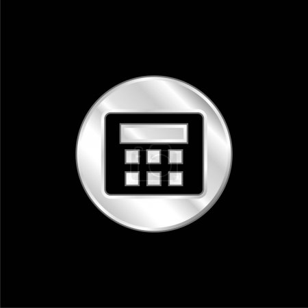 Illustration for Alarm System With Password silver plated metallic icon - Royalty Free Image