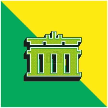 Illustration pour Porte de Brandebourg Logo vectoriel 3D moderne vert et jaune - image libre de droit
