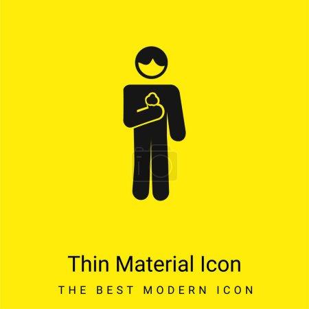Illustration pour Boy With Ice Cream Cone In minimal bright yellow material icon - image libre de droit