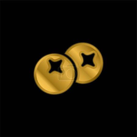 Illustration pour Baies plaqué or icône métallique ou logo vecteur - image libre de droit