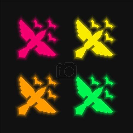 Photo pour Oiseaux quatre couleurs brillant icône vectorielle néon - image libre de droit