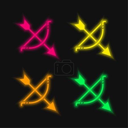 Photo pour Tir à l'arc quatre couleurs brillant icône vectorielle néon - image libre de droit